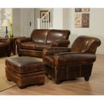 Plaza - Top Grain Leather Chair and Ottoman