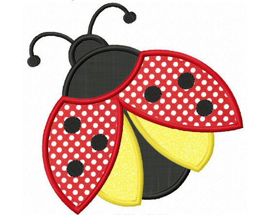 Ladybug Applique Machine Embroidery Design