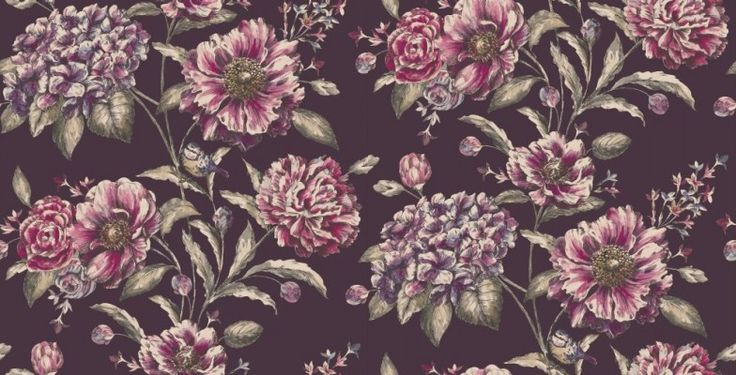 Cordelia Plum (97832) - Albany Wallpapers - A bold floral trailing wallpaper with fine metallic detailing and small garden birds. Shown here in midnight plum and taupe with metallic detailing. Other colourways are available. Please request a sample for a true colour match. Paste-the-wall product.