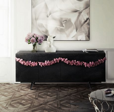 Majestic is a stylish sideboard with black colors and elegant drawers and functional shelving.