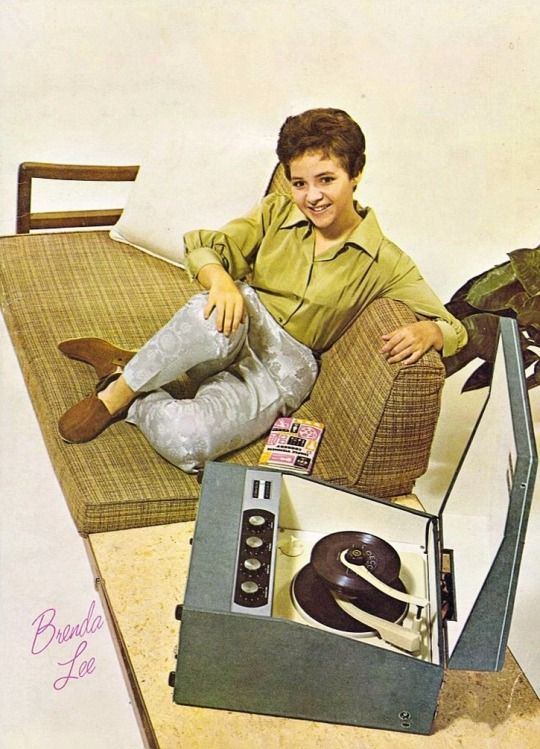 Brenda Lee with her record player and 45s, 1962.