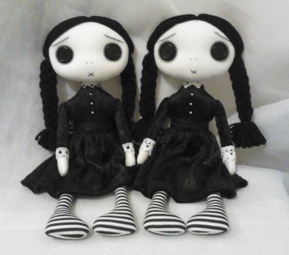 Gothic Art Rag Doll's  The Wednesday Twins by ChamberOfDolls