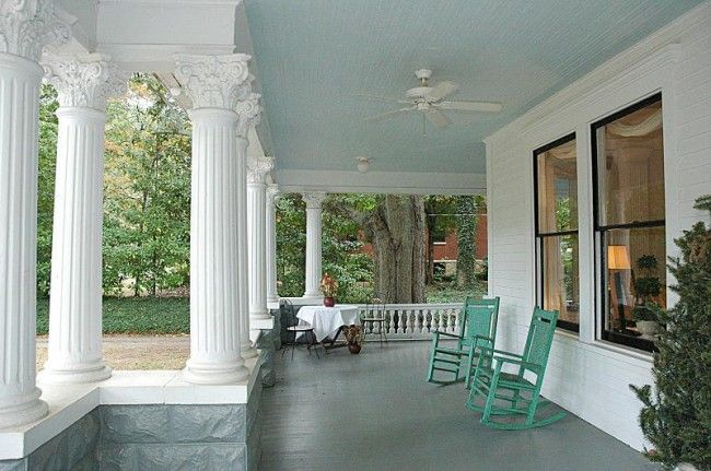 "Porch Ceiling Painted Haint Blue - has ""haint blue"" paint colors"