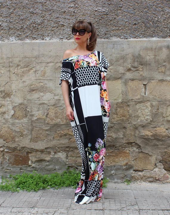 Black and white caftan dress maxi dress by cherryblossomsdress