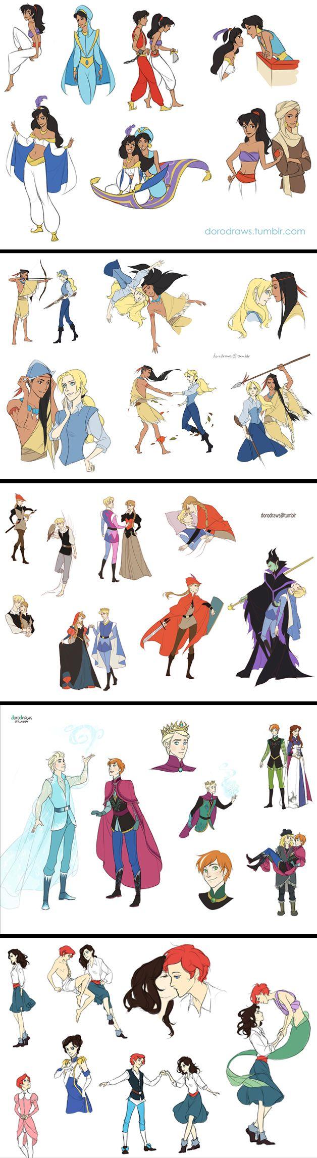 Disney Genderbent; Aladdin, Pocahontas, Sleeping Beauty, Frozen, The Little Mermaid