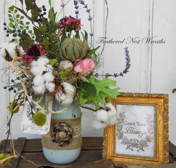 Mason Jar Arrangement Small Floral Table Arrangement