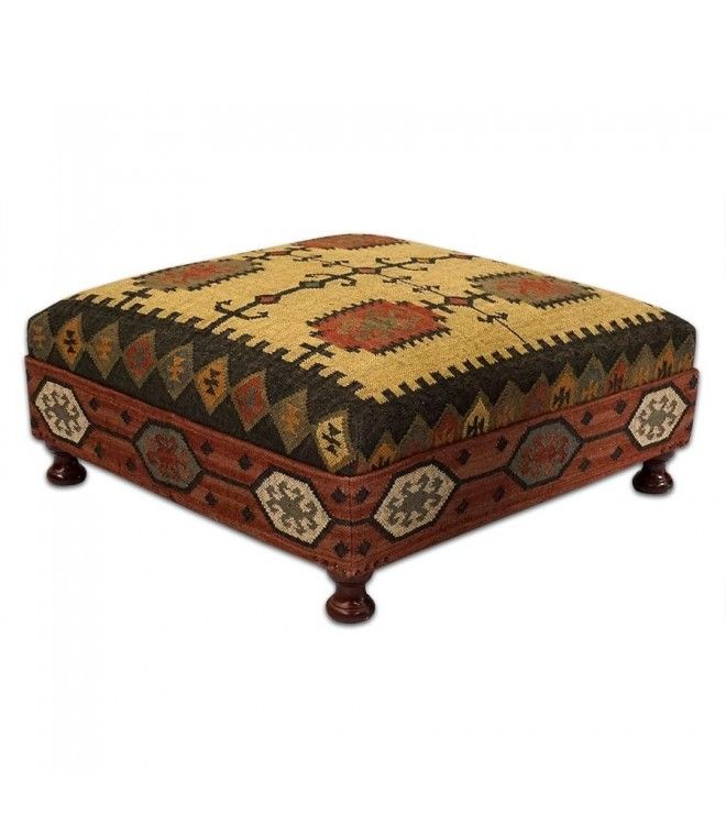 Square Wool Kilim Jute Coffee Table Ottoman Wool Ottomans And Coffee