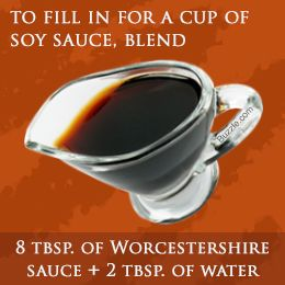 1 c. soy sauce=8 tablespoons of Worcestershire sauce + 2 tablespoons of water, or, if you want a sweeter sub to make quickly: 90 ml of balsamic vinegar + 240 ml of molasses, then add sugar to desired sweetness & whip them together to make a smooth sauce. ☛ ... you reap balsamic vinegar health benefits of reduced cardiovascular problems & increased digestion benefits of molasses