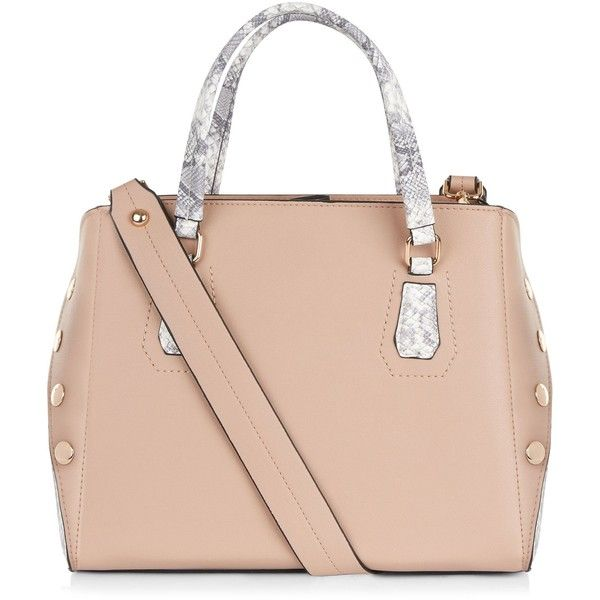 New Look Nude Pink Snakeskin Panel Tote Bag ($34) ❤ liked on Polyvore featuring bags, handbags, tote bags, oatmeal, tote purses, zip top tote bags, nude handbags, pink purse and studded purse