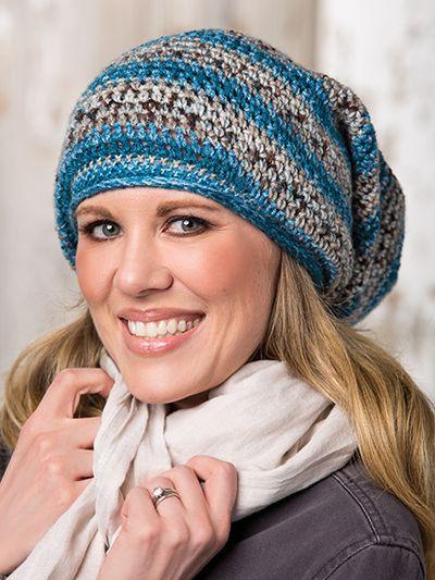 Crochet striped beanie hat pattern