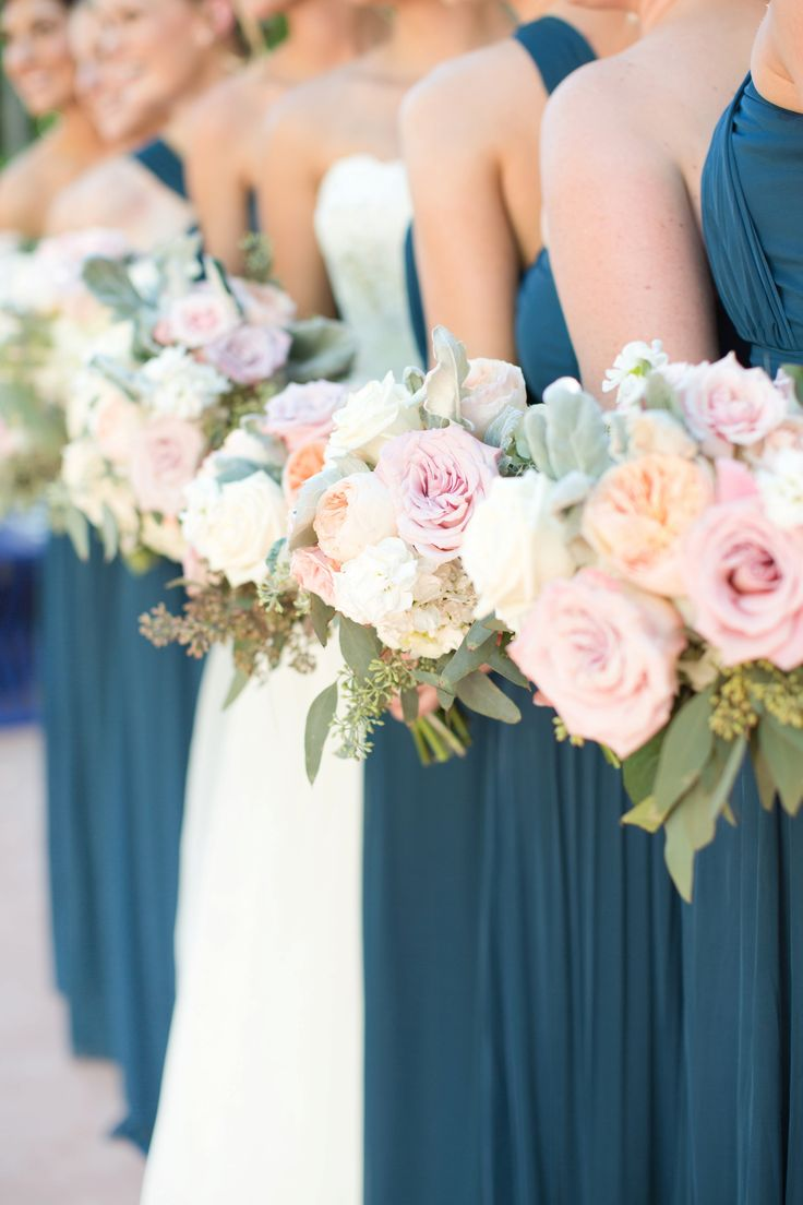 Light grey, navy, blush pink, white, and lavender color palette. Navy chiffon full length dresses for the bridesmaids.