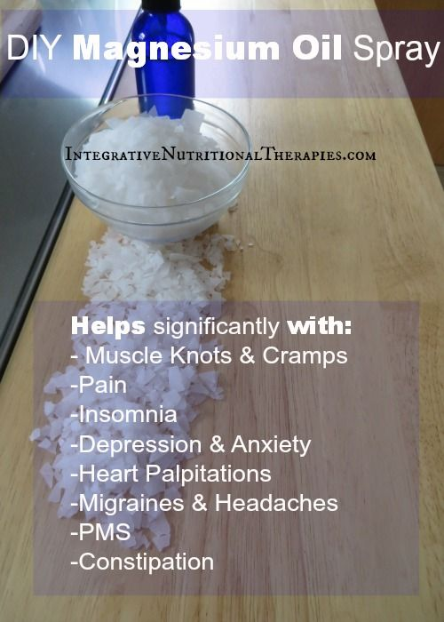 DIY Magnesium Oil Spray... 4 oz filtered or distilled water; 1/2 cup magnesium flakes EO (optional)