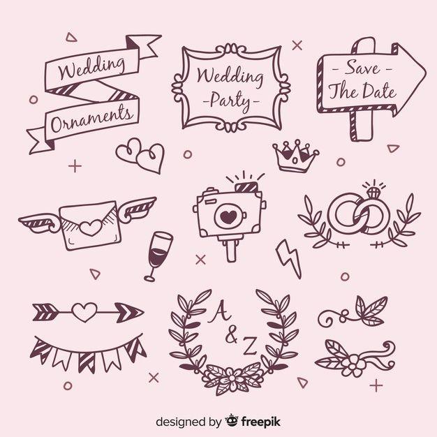 Hand Drawn Wedding Ornaments Set In 2020 Hand Drawn Wedding Wedding Ornament How To Draw Hands