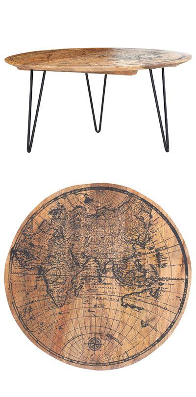 Außergewöhnlicher Couchtisch Aus Holz Mit Landkarte Auf Der Tischplatte |  Wohnzimmertisch Mit Weltkarten Design Parma
