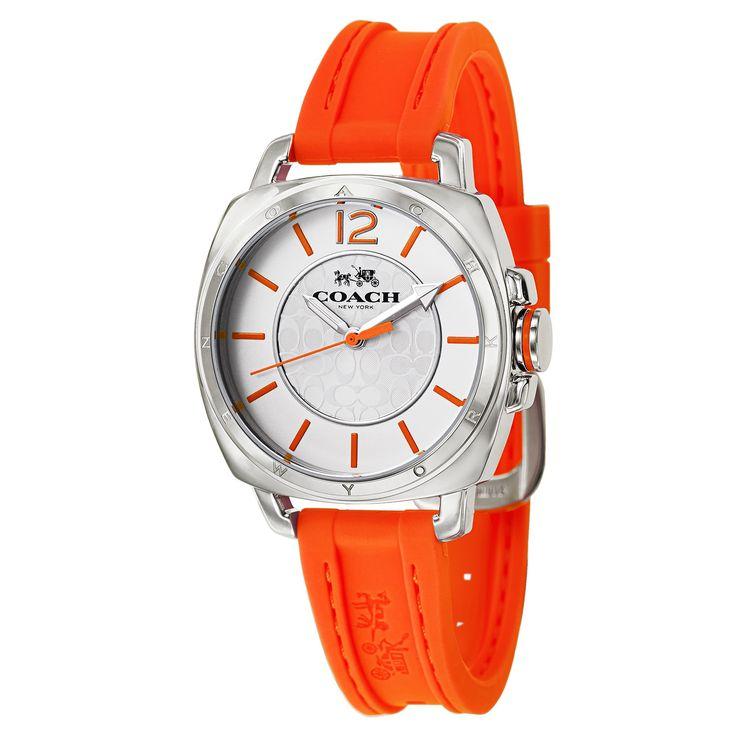 Coach Women's Orange Rubber Stainless Steel Watch