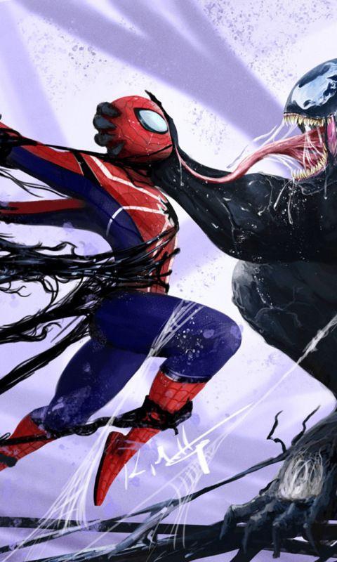Spiderman Vs Venom Artwork Marvel 480x800 Wallpaper Spider Man