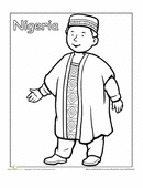 A coloring sheet for 1st graders about people from around the world. This picture is of a Nigerian boy in traditional dress.