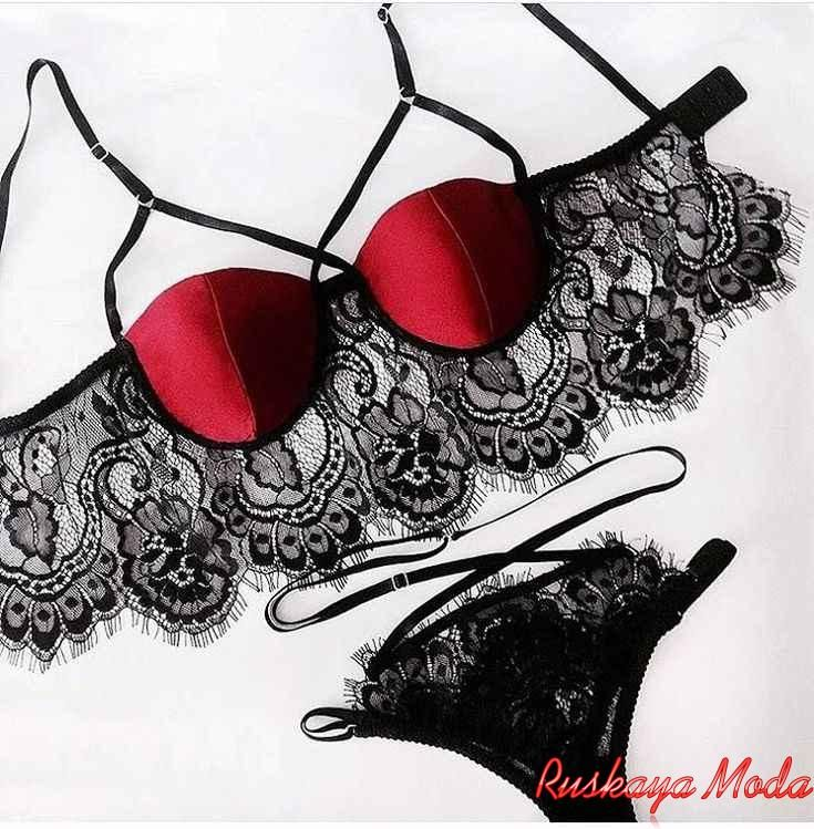 Красно черное кружевное белье купить женский комплект белья
