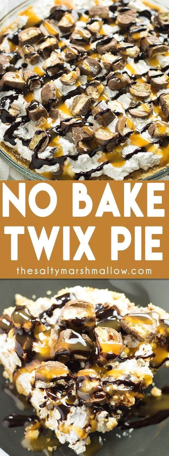 No Bake Twix Pie: This pie is an easy, cool and creamy, summer dessert recipe! No baking involved with a delicious vanilla wafer crust, cheesecake like filling and loaded with Twix candy bars! (Dessert Recipes)