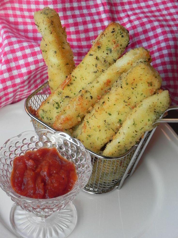 Palitos de mozzarella (mozzarella sticks)con receta paso a paso.