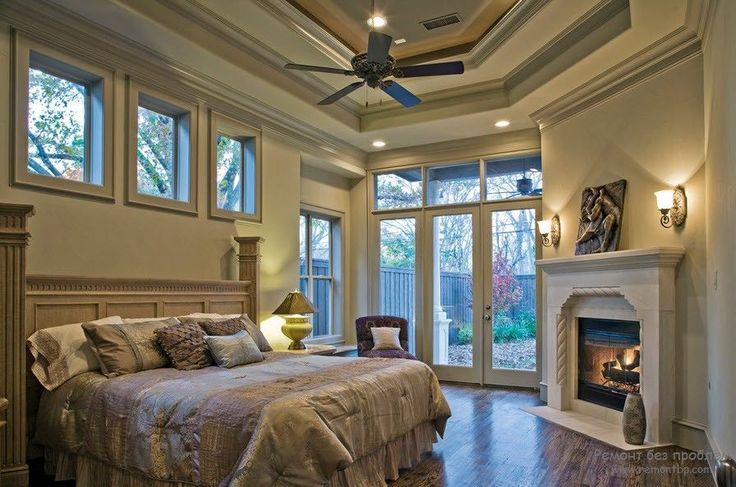 Камин в спальне средиземноморский стиль