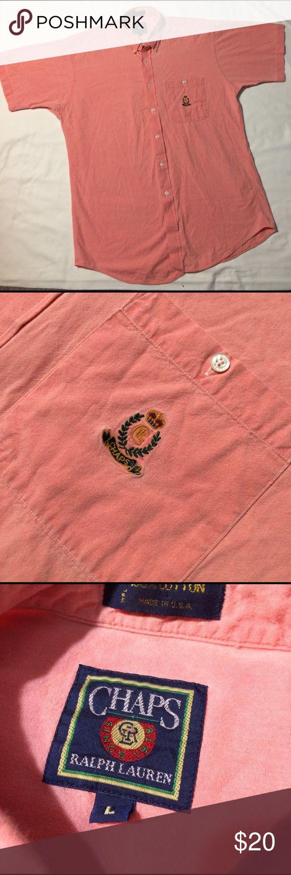 🔥VTG chaps Ralph Lauren button down! 100% cotton! Amazing Chaps Ralph Lauren 100% cotton button down! Pink/salmon with chaps crescent on breast pocket! Condition: 10/10 Sz. L Ralph Lauren Shirts Casual Button Down Shirts