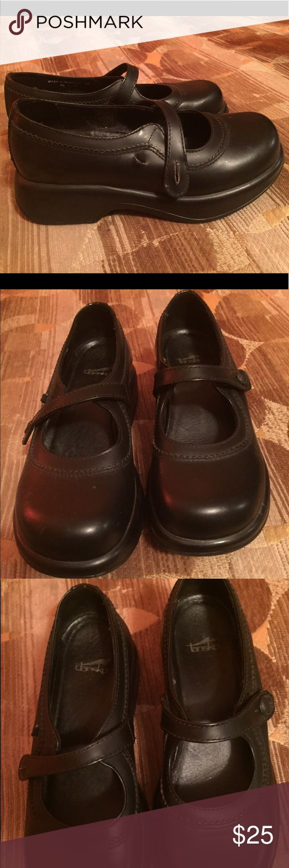 Dansko Mary Jane Shoes 6.5 Dansko black Mary Jane shoes. Gently worn  *missing button on right shoe* hardly worn like new size 6.5 Dansko Shoes Mules & Clogs