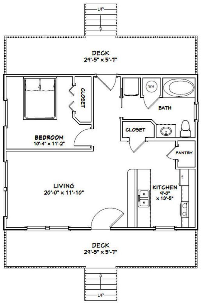 30x24 House 1 Bedroom 1 Bath 720 Sq Ft Pdf Floor Plan Etsy In 2020 Barndominium Floor Plans Floor Plans Tiny House Plans
