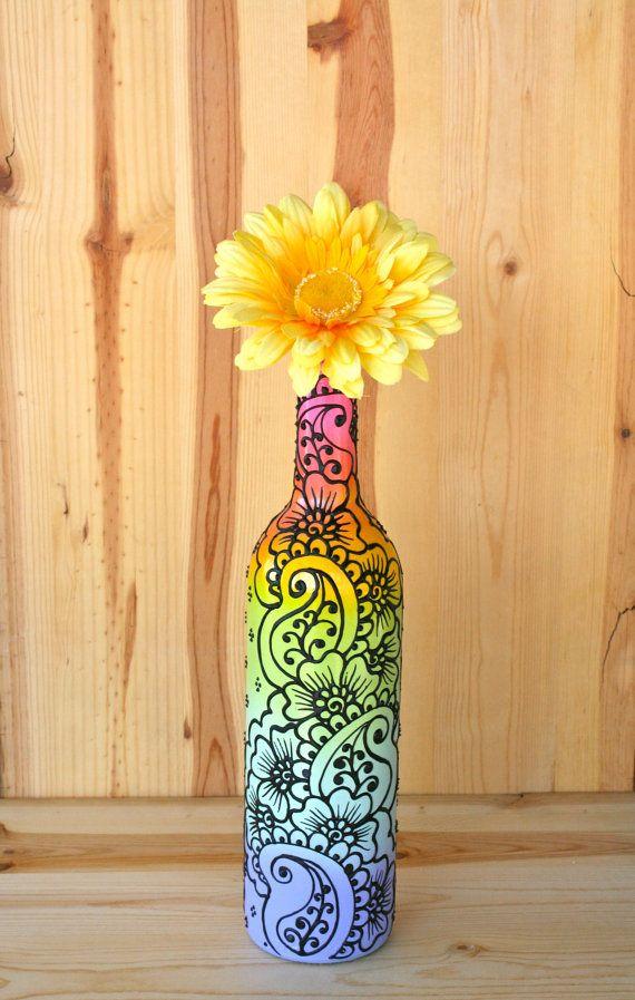 Pastel Rainbow Colored Hand Painted Wine Bottle Vase