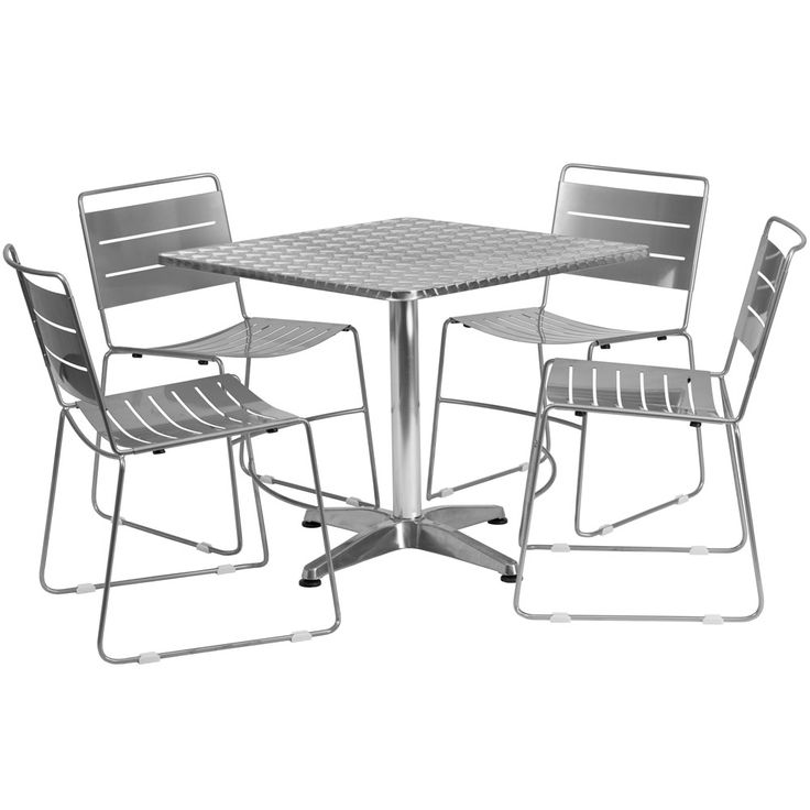 aluminum restaurant patio furniture. flash furniture in. square aluminum indoor-outdoor table with 4 metal stack chairs - turn your patio into a chic and stylish spot to dine the restaurant r