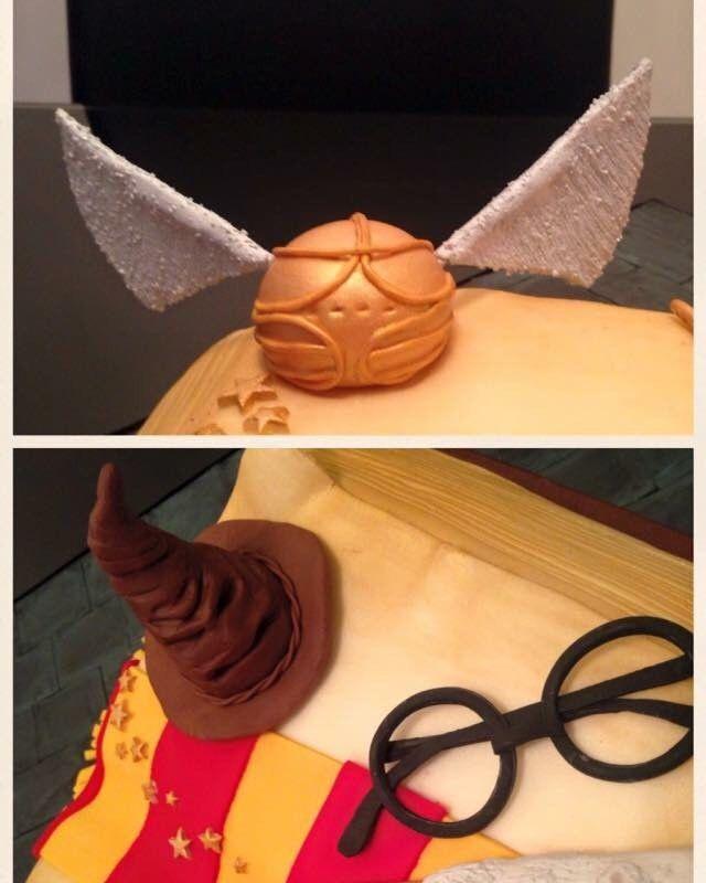 Harry Potter Birthday Cake. #harrypottercake #birthdaycake #harrypotter #satinice #cake #fondant #homemade #madewithlove #familytraditions #airbrush #handpainted #quiddage #goldensnitch #sortinghat #harrypotterwand #spellbook #gryffindorscarf #harrypottersglasses