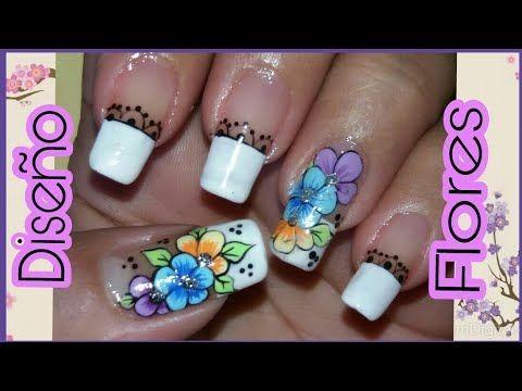 Uñas decoradas fácil de hacer con flor - YouTube #unasdecoradas