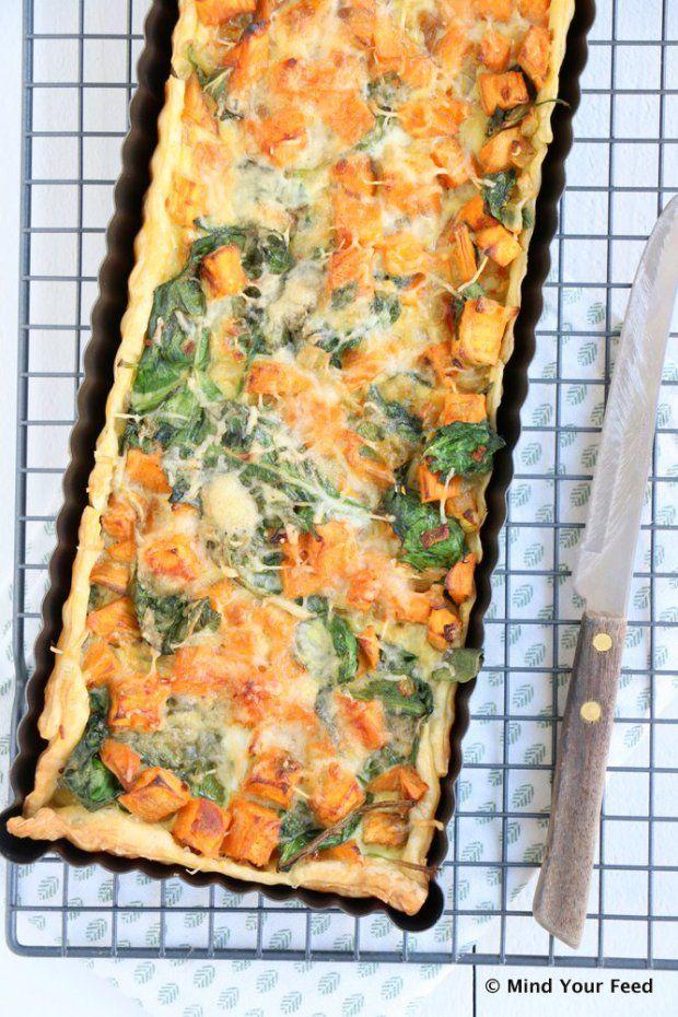 Zoete aardappel spinazie quiche..