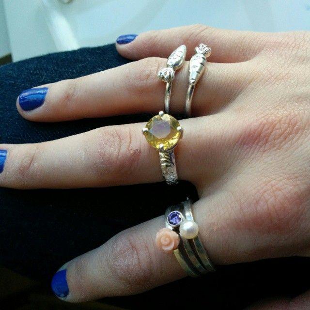Pretty rings for Spring! #springfashion #springy #rings #jewellery #handmade #carrots #gemstones #rose #coral #citrine #amethyst #pearl #diamonds #slashpiledesigns