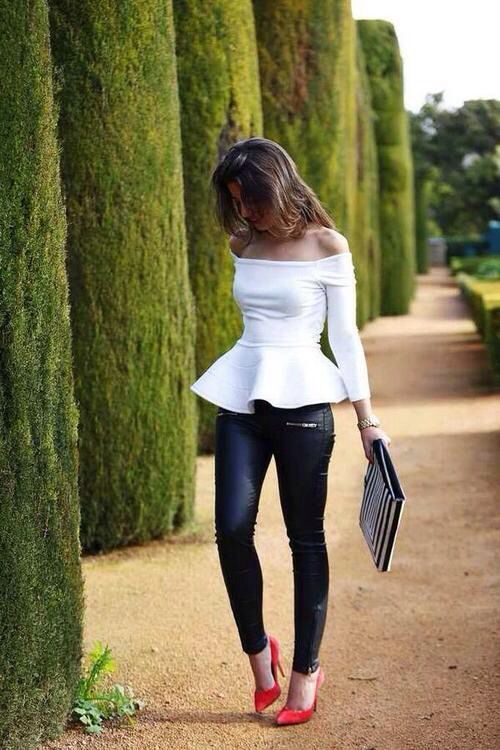 Off the shoulder white peplum with leather pants red pumps. Love this look for girls night
