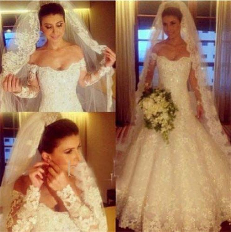 Бальные платья свадебное платье 2015 бесплатная доставка великолепные белые кружева милая длинные рукава свадебное платье на заказ