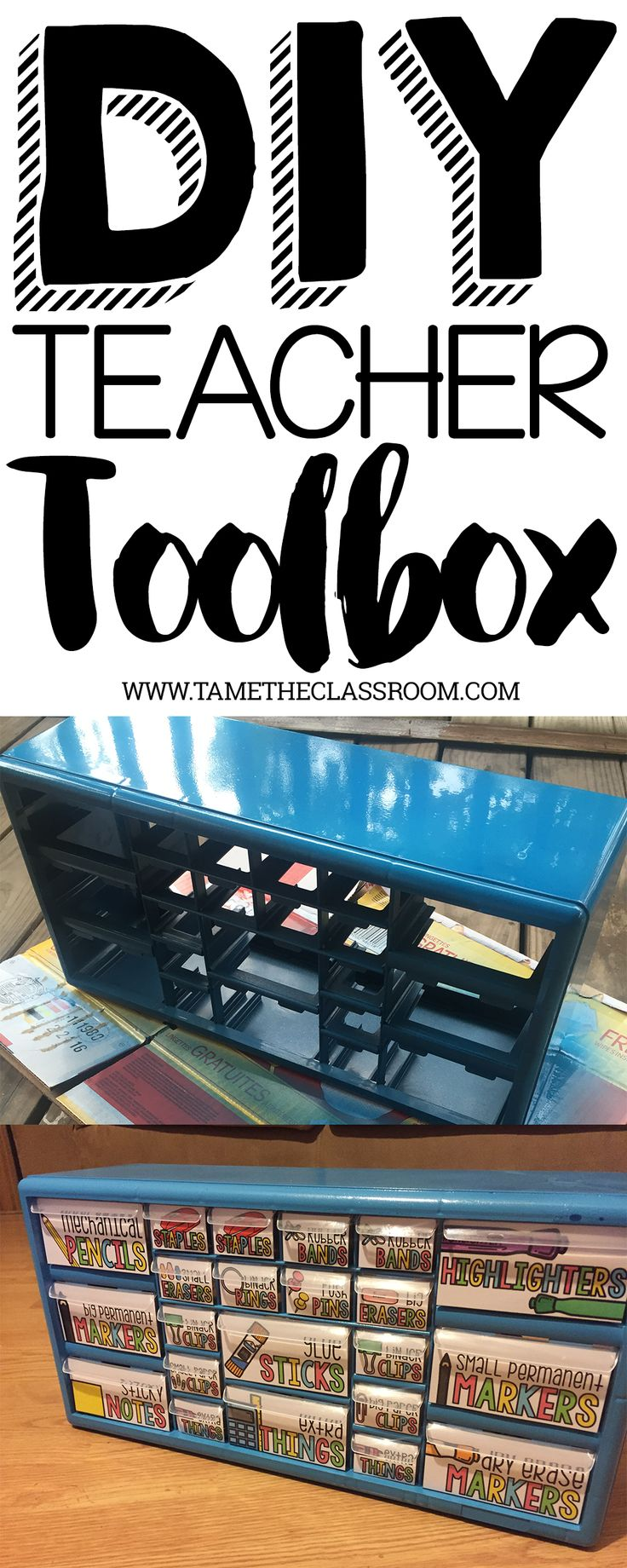 An easy DIY project to store all the little things in your classroom. This teacher toolbox is a must have. | Tame the Classroom