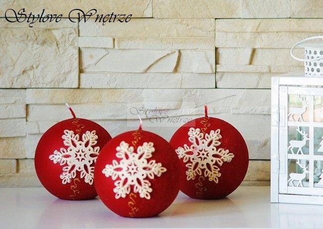 Świąteczna Czerwona Świeca Płatek śniegu 1