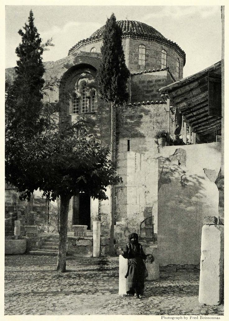 1922; Convent of Daphne on the Sacred Way, a road and the route taken by the Eleusinian Mysteries during processions in Greece.