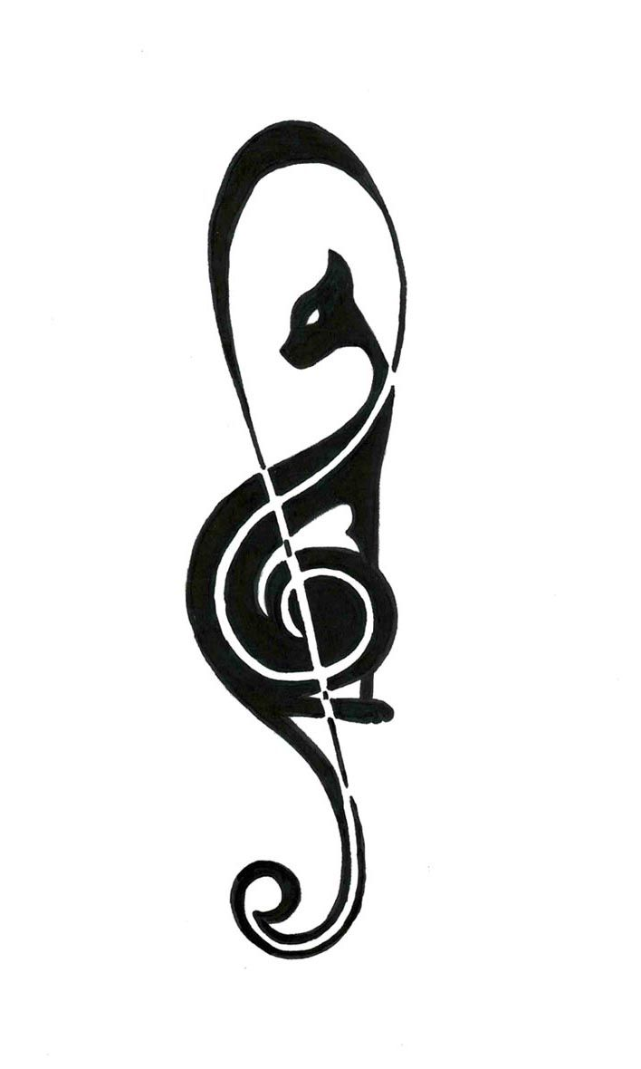 g clef tatoo cat