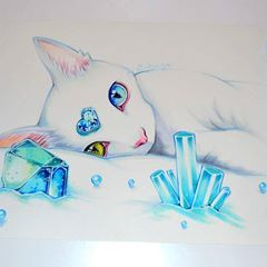 """Hands up all December kids! This is my take on the Birthstone """"Blue Topaz""""! The endless white of the snow and the beautiful blue get along very well together, I think. Can't wait to create more Birthstone Animals! <3 Any further suggestions? #cute #kawaii #manga #anime #sweet #adorable #lighanesartblog #lighane #copic #marker #traditional #art #artist #cat #kitty #katze #pet #animal"""