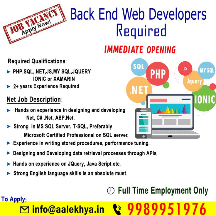 We Requiting back end webDevelopers contact us for more