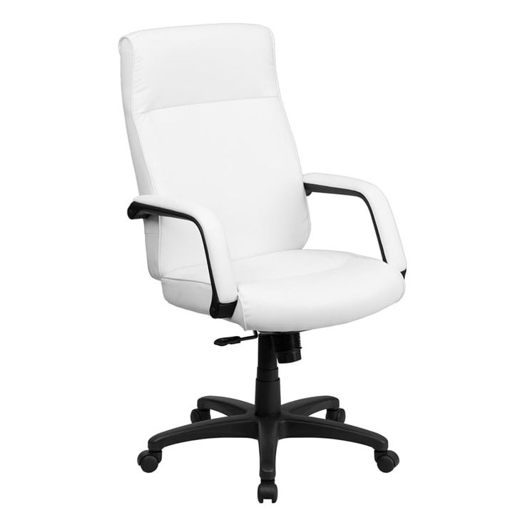 Offex High Back White Leather Executive Office Chair with Memory Foam Padding [OF-BT-90033H-WH-GG]