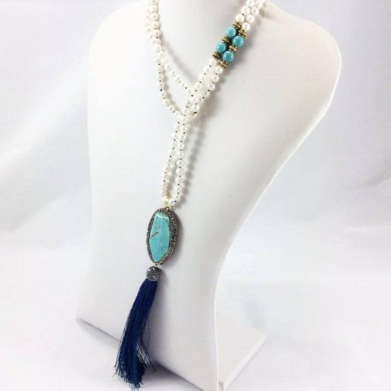 A Beautiful Bohemian Style Tassel Necklace Turquoise And
