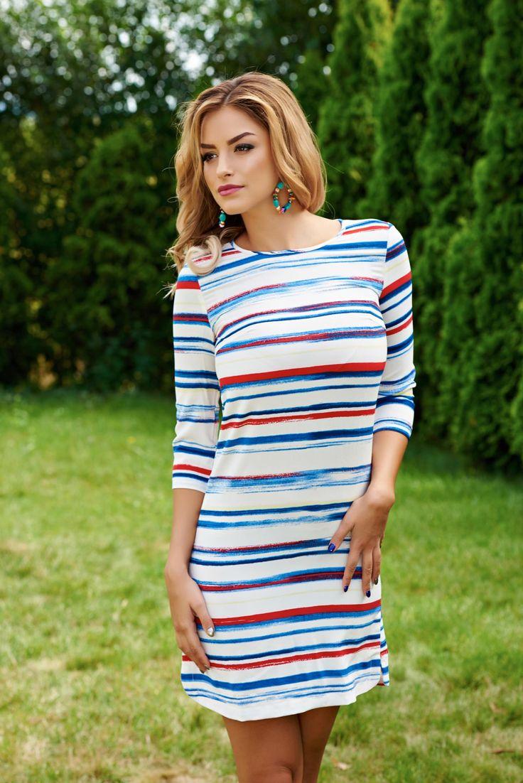 Rochie Pijama Party Blue. Rochie de vara, din material cu imprimeu, usor elastic…