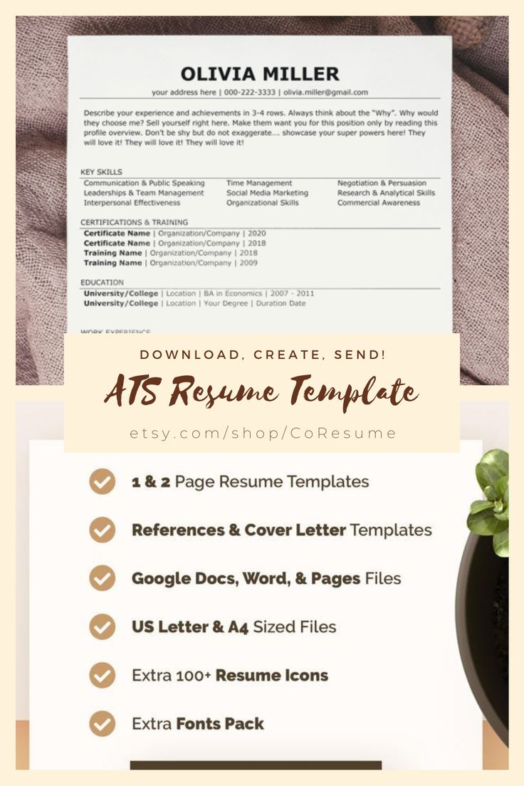 ATS Friendly Resume Template Modern Resume Template for