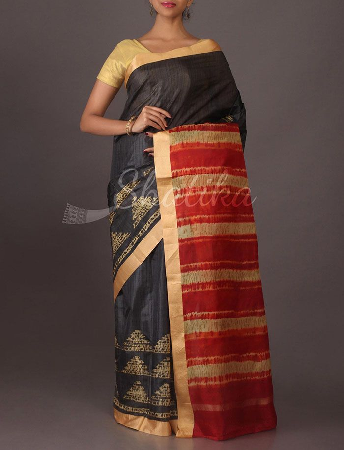 Pradeepthi Temple Design Printed #SilkSaree in Black