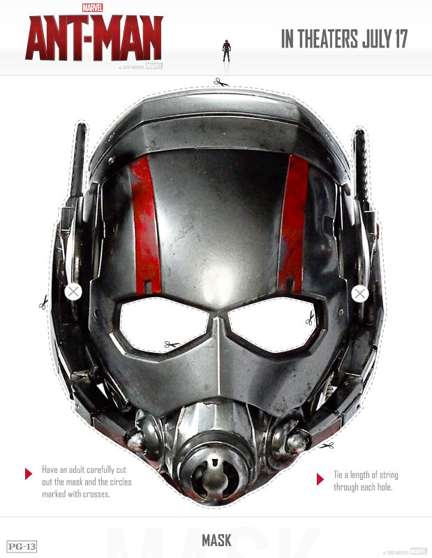 Free Ant Man Printable Mask Plus 20 Page Family Activity Pack Marvel