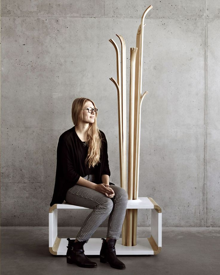 8 Examples Of Creatively Designed Coat Stands // The Tilia coat stand and bench, designed by Alicja Prussakowska.