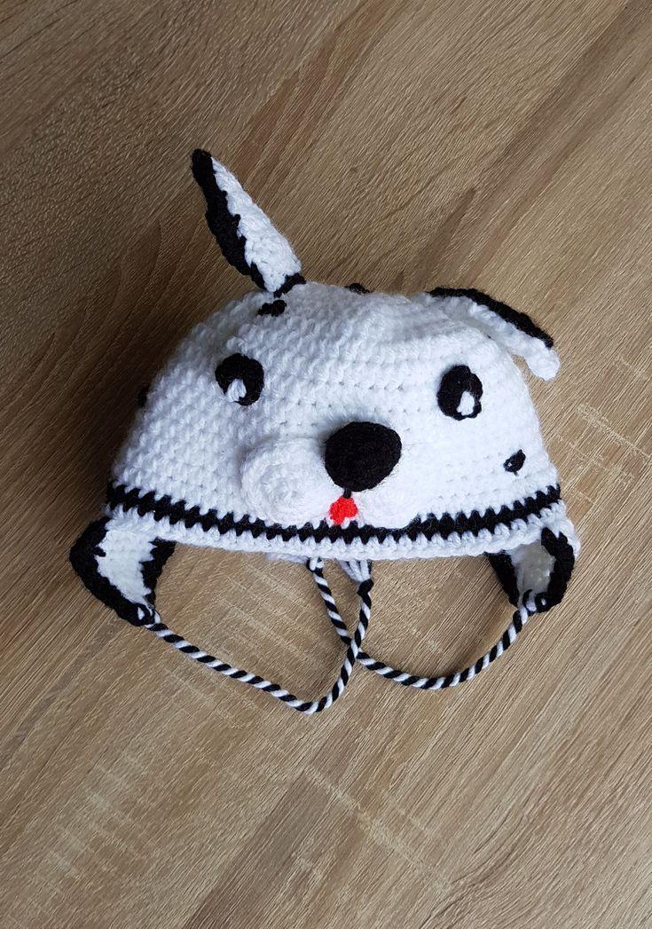 12 Caciulita Dalmatian Catel Catelus Caine caciula crosetata stoc fes cu urechi copii copil alb Kiko